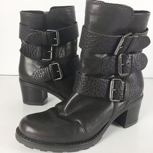 Clark's Black Leather Moto Ankle Boots